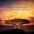 If light is in your heart, you will find your way home, Rumi quote